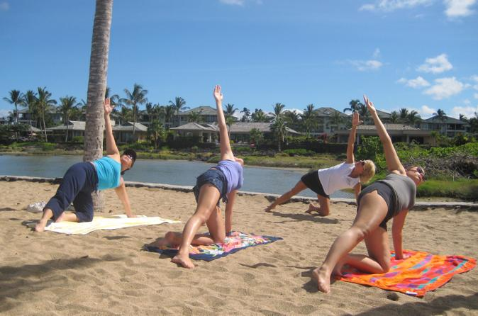 Morning Yoga Stretch At Anaehoomalu Bay on Hawaii